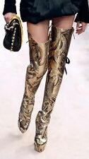 4,750$ Runway Louis Vuitton CanCan brocade gold pearl lace boots Collectors item