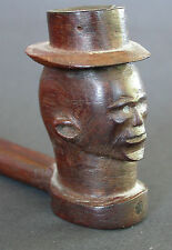 A FINE ANTIQUE EARLY 20TH C XHOSA PIPE WITH CARVED HEAD LED INLAYED EYES
