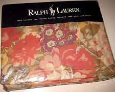 New/NIP Vintage RALPH LAUREN Kirsten Floral Twin Size Flat Bed Sheet Made in USA