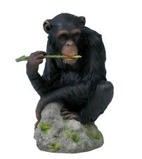 "7"" Chimpanzee Chewing Branch Nature Wildlife Animal Statue Wild Sculpture"