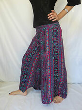 Pantalon Papillon Aztec Bleu Rouge - Vetements Ethniques Hippie Baba Cool