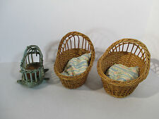 Wicker Cradle Doll Bear Moses Basket Vintage Pillows Brown Blue Lot 0f 3 Small