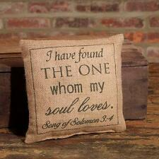 """I HAVE FOUND THE ONE WHOM MY SOUL LOVES Stenciled Burlap Pillow 8"""" x 8"""""""