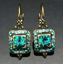 SWAROVSKI Antique Turquoise Green Blue Crystal Earring Wedding Gold Brass