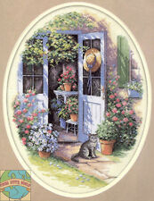 Cross Stitch Kit Dimensions Spring Flowers & Garden Door Kitty Cat #35124