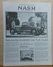 1927 magazine ad for Nash - Nash Special Six Cabriolet, entirely new model
