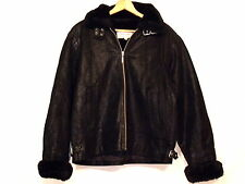Donna Pella VTG insulated black leather faux fur jacket / size L / great / b27