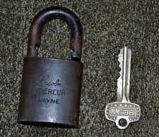 VTG Padlock Pad Lock Lincoln Mercury Wayne Best w/ Original Key Works M 11 M11 N
