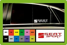 SEAT SPORT - 2 x CAR DECAL STICKERS  - Fits any SEAT-195mm long - Colour Choice!