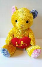 Plush Peluche Pupazzo Morbido Soft Toys Orso Bear Giallo 28Cm Teddy Cuore Amore