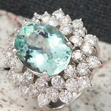 Estate 9.14 Carats NATURAL AQUAMARINE and DIAMOND 14K Solid White Gold Ring