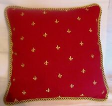 Provence French Country Cottage Pillow Cushion Red Gold Fleur De Lis FDL Paris