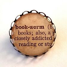 Bookworm Brooch Dictionary Pin Antique Bronze Quirky Book Worm Read Gift