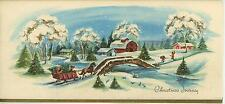 VINTAGE CHRISTMAS  VILLAGE BARN HORSE SLEIGH RIDE SNOW 1 LABRADOR DOG SKI CARD