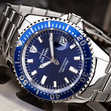 DETOMASO San Remo Mens Diving Watch Stainless Steel Automatic Blue 990 ft New