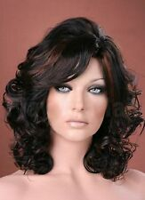 Ladies Medium Style Tousled Full Curls Off Black with Copper Highlights Wig