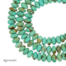 """16"""" Natural Chinese Turquoise Rondelle Beads 6mm Sky Blue #82216"""