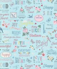 Wallpaper Rasch - Floral Vintage Shabby Chic Girls Quotes - Duck Egg - 216714