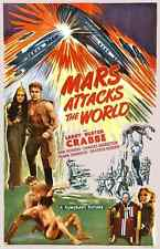 MARS ATTACKS THE WORLD, 1938 Vintage Movies Poster CANVAS ART PRINT 24x36 in.