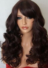 Long Wig Curly Full Women Fashion natural Black Plum Ladies Stage Wig uk M-19