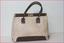 BORSE IN PELLE Sac Cabas Cuir Beige et Marron BE
