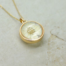 Preserved Flower Necklace 24k Gold Plated Stainless Steel Chain, Glass Bubble