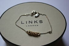 Genuine links of London Argento Sterling SWEETIE XS 18ct ygv Bracciale 20cm
