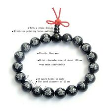 Buddha Word Lotus Black Agate Tibetan Buddhist Prayer Beads Mala Bracelet