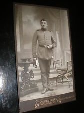 Cdv old photograph soldier gloves by Lang at Regensburg Germany c1900s