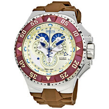 Invicta Excursion Reserve Chronograph Champagne Dial Brown  Polyurethane Mens