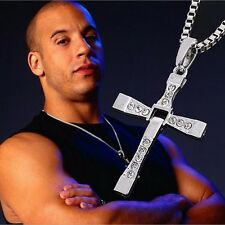 Fine Jewelry Necklace Trendy Male Silver Color Cross Crystal Necklace&Pendants