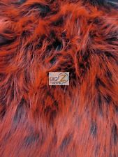 FROZEN SHAG FAUX FAKE FUR LONG PILE FABRIC - Black/Red Spikes - BY YARD COSTUME