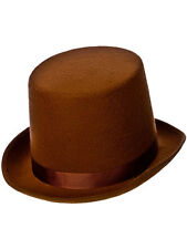 Brown Tall Top Hat Adult Magician Fancy Dress Victorian Lincoln Ringmaster 30s