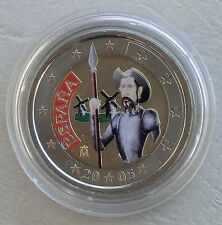 "2 Euro Spanien 2005 ""Don Quichote"" in Farbe unz"
