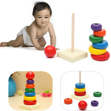 Kid Baby Toddler Wooden Stacking Ring Tower Stackup Play Educational Toy Rainbow