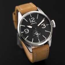INFANTRY Mens Quartz Wrist Watch Leather Army Lume Dial Steel Case Police Style