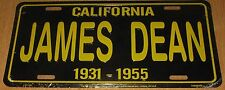 JAMES DEAN METAL LICENSE PLATE Black & Yellow CALIFORNIA 1931 - 1955 BRAND NEW!