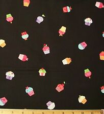 Cupcakes Fabric By Yard Cotton Sweet Things Black Lakehouse Dry Goods desserts