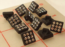 "24 vintage small black glass square shank rhinestone buttons Czech 3/8"" 10mm 461"