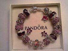 Authentic Pandora Sterling Silver Bracelet with (Murano Glass Beads) 7.9 inches