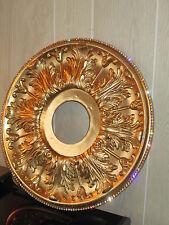 "16"" CEILING MEDALLION RHINESTONES EMBELLISHED GOLD CHANDELIER LIGHT FAN BLING!"