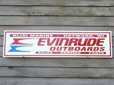 VINTAGE STYLE EVINRUDE PERSONALIZED OUTBOARD  DEALER/SERVICE SIGN 1'X4' W/LOGO