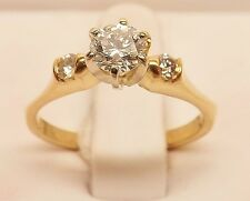14kt YELLOW GOLD 1/2 cttw THREE DIAMOND ENGAGEMENT WEDDING RING SIZE 6-1/4