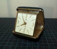 Vintage ELGIN Pocket Travel Alarm Clock Gold Bezel Black Leather Case WORKS