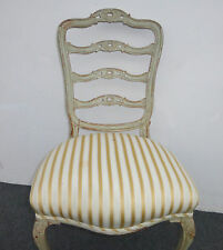Vintage Chic FRENCH Provincial Ladder Back Carved SIDE CHAIR  White & Gold