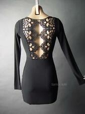 Black Lace Tattoo Style Cutout Back Gothic Vamp Club Evening Mini 54 ac Dress L