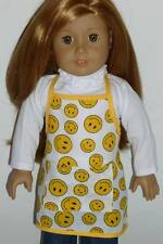 "Yellow Smiley Face Baking Cooking Apron For 18"" American Girl Doll Accessories"