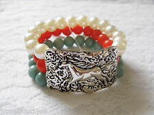 HAMMERED SILVER CONCHO EQUESTRIAN HORSE RODEO COWGIRL TURQUOISE BRACELET PEARL