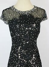 Jovani $600 Black Beaded Lace Cap Sleeve Dress Prom Formal Size 2 Mermaid Long