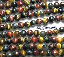 "15.5"" RED BLUE GOLD TIGER EYE 10mm Faceted Round Beads"